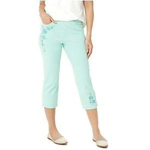 Belle by Kim Gravel Embroidered Crop Jeans 6